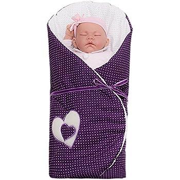 Sevira Kids - Gigoteuse d'emmaillotage multi-usage - Nid d'ange naissance Hearts Violet