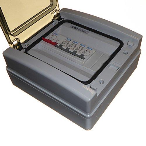IP65Verbraucher Einheit mit 100Amp Trennschalter und 4x Sicherungen 6A 10A 16A 20A-Outdoor IP65Wetterfest (Doppel-einheit-box)
