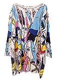 Bigood Pull Robe Femme Tricot Sweat-shirt Manche Chauve-souris Col Rond Motif Personnage Abricot