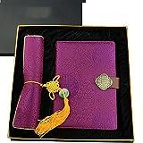 gongyu Chinesischer Stil Seide Notebook Maus Pad Geschenk-Set violett
