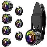 AMIR 9 IN 1 Clip-On Handy Objektiv, 0,36X & 0,63X Super Weitwinkel-Objektiv + 15X & 20X Macro Objektiv + 198°Fisheye Objektiv + 2X Teleobjektiv + Star Filter Objektiv + Kaleidoskop Objektiv + CPL Lens