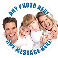 Your Photo Image Message Blue Text Sticker Labels (12 Stickers @ 6.5cm) Personalised Seals Ideal for Party Bags, Sweet Cones, Favours, Jars, Presentations Gift Boxes, Bottles, Crafts