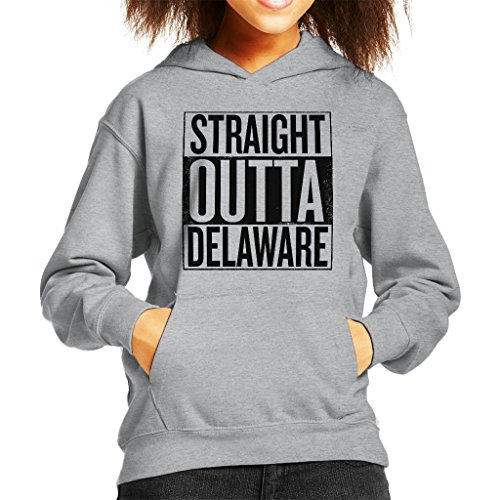 Black Text Straight Outta Delaware US States Kid's Hooded Sweatshirt (Delaware Klassischen Sweatshirt)