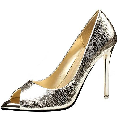 Oasap Women's Peep Toe Snakeskin Stiletto Heels Slip on Pumps Golden