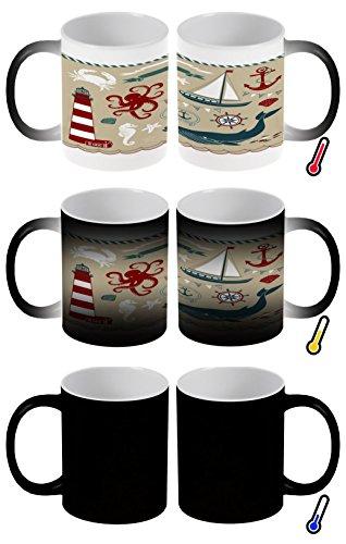 ubertasse Farbwechseltasse Kaffeebecher Tasse Becher Latte Cappuccino Espresso Weltmeere Wal Kraken ()