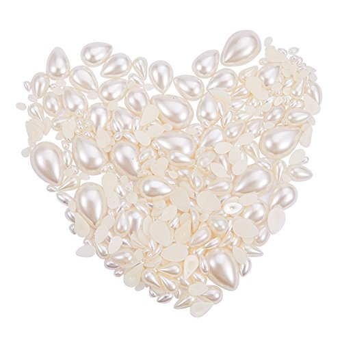 PandaHall Elite - 385pcs Perles Cabochons en Acrylique ABS Imitation Perle Teint en Forme de Goutte pour la Fabrication de Bijoux et la Décoration, Beige