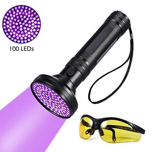 UV Taschenlampe - Delaman LED Handlampe, UV-Schwarzlicht/Ultraviolett Leuchte mit 100x LEDs, Schwarz (mit Schutzbrille)