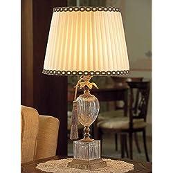 Il PARALUME Marina textil Cristal Lámpara de mesa Mario en latón envejecido | hecho a mano en Italia, lámpara de mesa clásico