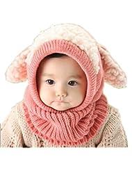 Tongshi Invierno del bebé Niños Chicas Chicos Caliente lana Cofia Capucha Bufanda Caps Sombreros(Rosa)