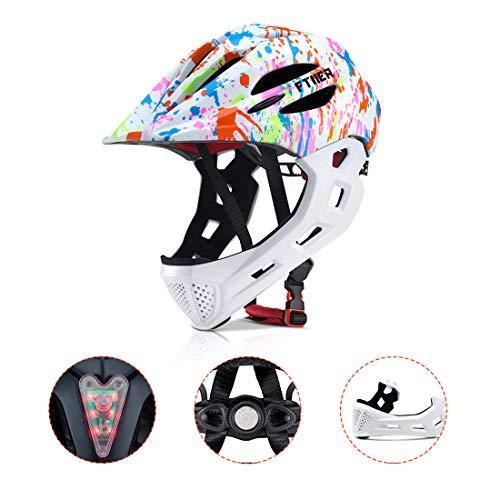 BLLJQ Casco Cycling per Bambini, Casco Integrale, con Mento Staccabile Traspirante for Bici MTB BMX Climb