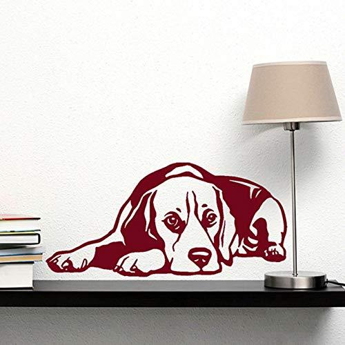 Nuevo perro calcomanía Beagle reclinada bicicleta vinilo 3D etiqueta de la pared decoración para el hogar sala de estar arte de la pared Mural etiqueta engomada del animal doméstico 3 80X40 CM