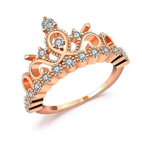 Rose Gold überzogene Prinzessin Tiara Crown Ringe CZ Band für Frauen Valentinstag Geschenke
