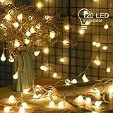 MUHOO Catena Luminosa 15M e Cavo di Prolunga 3M, Catena di Lampadina con 120 LED, Luci Stringa Decorazioni Impermeabili con 8 Modalità Flash, Luce Calda da Interno e Esterno