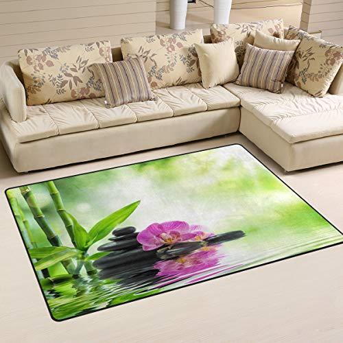 MNSRUU Zen Stone Bambus-Blumen-Teppich Anti-Rutsch-Fußmatte Fußmatte für Kinderzimmer, Wohnzimmer und Schlafzimmer, Textil, Multi, 100 x 150 cm(3\' x 5\' ft)