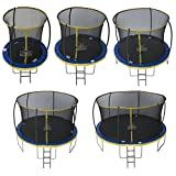 Zero Children's Ultima 4 High Spec Trampoline with Safety Enclosure Netting and Ladder, Children's, ZG12U4, Blue/Yellow, 12ft
