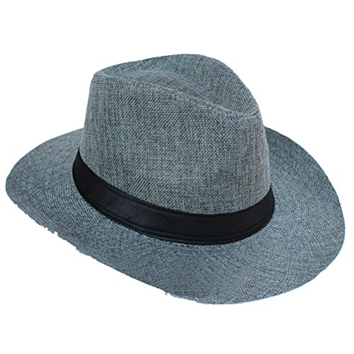 Zhhlinyuan Unisex Retro Fedora Hat Classic Style Summer Beach Sun Jazz chapeau 992 gray