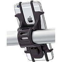 Bovon Support Vélo du Guidon, [Installation facile] Support Téléphone Bicyclette Silicone Réglable pour les 4,0-6,5 Pouces Smartphones, Idéal pour VTT Vélo de Route Moto (Noir)