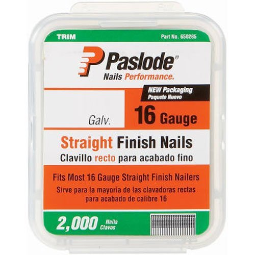 Paslode 650284 1-3/4-Inch by 16 Gauge Galvanized Staight Finish Nail (2,000 Per Box) by Paslode (16-gauge-box)