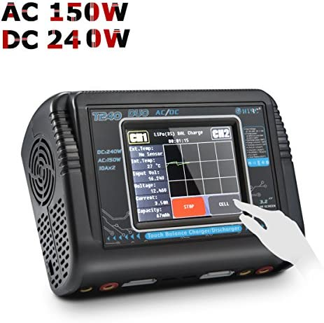 HTRC T240 Duo AC 150 W / DC 240 W Écran Tactile Double Canal 10A RC Balance Chargeur décharge pour LiPo LiHV Life Lilon NiCd NiMh PB   Up-to-date Styling