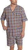 Herren Karierter Kurzer Zweiteiliger Schlafanzug/Pyjama, Moderne Nachtwäsche für Männer - Popeline, 100% Baumwolle - Größe XXXL - Navy Blau, Rosa und Orange
