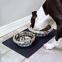 CONMING Alfombrilla de alimentación para mascotas FDA Alimentación de grado de silicona para mascotas bandeja de alimentación Impermeable antideslizante piso limpio para colchonetas de alimentos para perros y gatos (Negro, Grande)