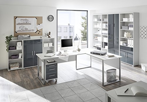 Stella Trading Office Lux Winkelkombination 3tlg. , Holzdekor, Korpus und Front: Lichtgrau, 223 x 77 x 73 cm - 2