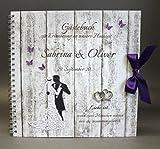 Gästebuch zur Hochzeit mit Namen 80029 lila, Holzoptik mit Brautpaar & Herzen