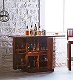 #10: JS Home Decor Wooden Stylish Bar Cabinet Liquor With Wine Glass Storage