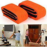 ®Praha Furniture Canvas Lifting Moving Straps Carry Rope Belt (Orange) -2 Pieces