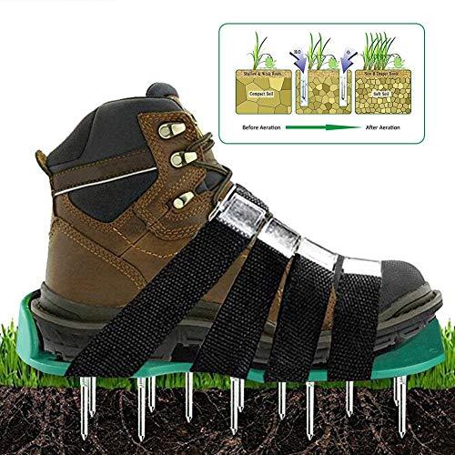 halonzhor Rasenlüfterschuhe grün universell passend,EIN Paar Rasen Belüfter Schuhe (8 PCS) + eine Reihe von Schrauben (26 PCS) + EIN Schraubenschlüssel (Grün) Schrauben