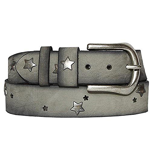 fad74e27c46f Vanzetti selection ceinture pour femme en cuir avec étoiles en argent  s1538A6259.710 - Gris