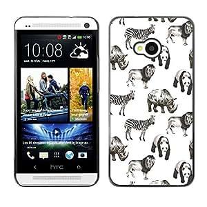 Rubber Gehäuse Hülle Schutz Zubehör kompatibel mit HTC ONE M7 2013 - animals Africa white black panda lion