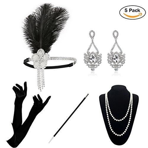 KQueenStar Damen Accessoires Set Halskette Handschuhe Zigarettenhalter Stirnband 20er Jahre 1920s Charleston Gatsby Retro Stil Kostüm Ball (White Set) (20er Jahre Kostüme)