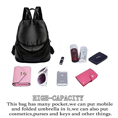 Schulterriemen wasserdicht Leder Laptop Backpack mit SShwarz College Rucksack Unisex AVERIL Schule G q6tB88