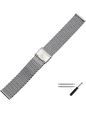 MARBURGER Uhrenarmband 20 mm Edelstahl Silber - Edelstahl - Inkl. Zubehör - Ersatzarmband, Schließe Silber - 84907200020