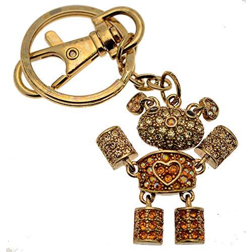 Roboter Herz Kostüm - Acosta Jewellery-Topaz & gelb Swarovski KRISTALL-Roboter Teddy Bär mit Herz Tasche Charme/Schlüsselring-Geschenk Box