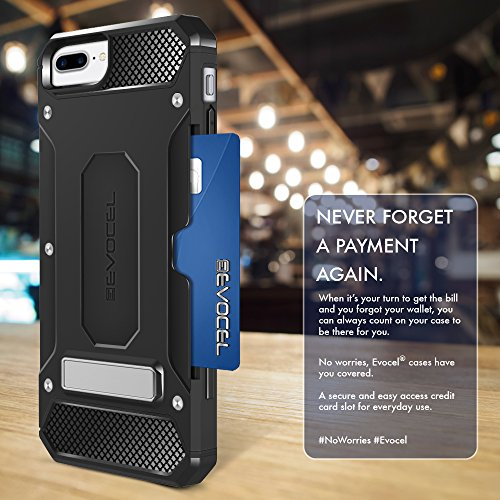 iPhone 7 Plus Case, Evocel [Explorer Series Pro] Premium Dual Layer Protector [Metal Kickstand][Credit Card Slot] For iPhone 7 Plus / iPhone 6 Plus (5.5 inch), Black (EVO-IPH7PLUS-CK01) Black