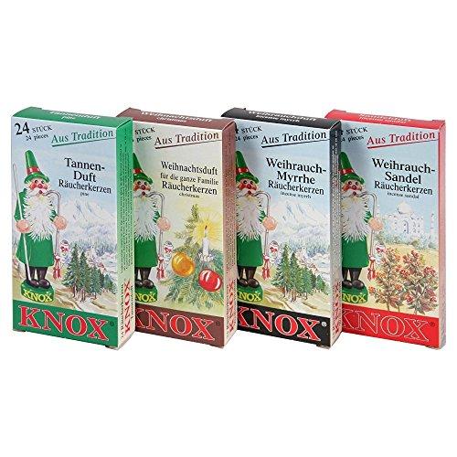 Myrrhe, Weihrauch (4er Set Knox Räucherkerzen - Tanne, Weihnachtsduft, Weihrauch Myrrhe und Sandel)