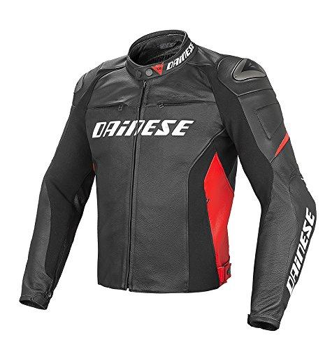 *Dainese Racing D1 Leder Motorradjacke, Schwarz/Schwarz/Rot, Größe 54*