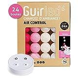 Guirlande lumineuse boules coton LED USB - Télécommande sans fil - Chargeur double USB 2A inclus - 4 intensités - 24 boules - Tagada