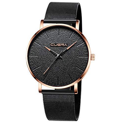 Wasserdicht Herren Multi Zifferblatt Quarz Uhr mit Edelstahl Armband Schwarz -