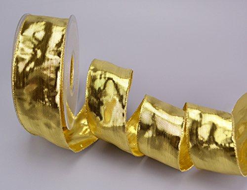 Dekoband Glossy Gold 25 m x 4 cm (Rolle) Drahtkantenband Hochglanz Golden Geschenkband glänzend Weihnachten Schleifenband Doppelseitig Glanzband mit Draht Band Metallic