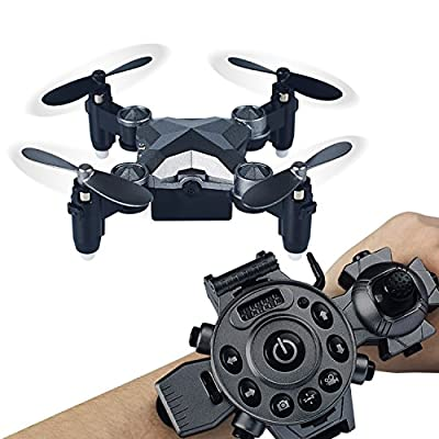 Megadream Remote Control Drone Quadcopter Camera Portable Watch Style Mini Fold Drone Wifi FPV for Kids, Battery Charge
