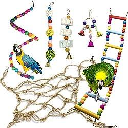 Juguetes para Pájaros, PietyPet 6 Piezas Redes de cuerda Pájaros Juguetes, Perchas, Escalera de madera, Columpios, Hamaca de Madera, Que cuelga la Perca Juguete para pequeños loros de aves