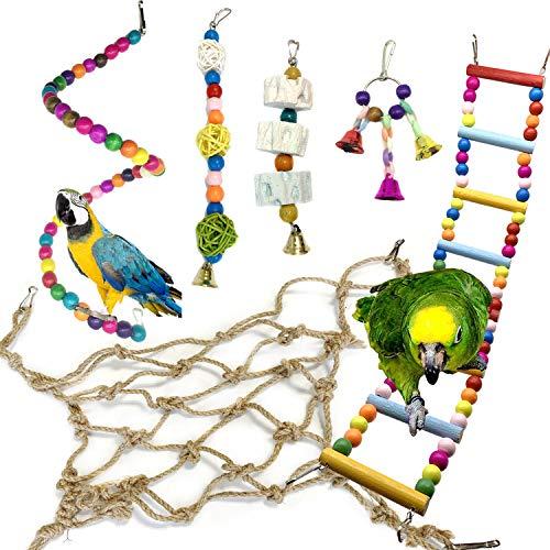 Giochi per uccelli pappagalli, PietyPet 6 Pezzi Corda netta da arrampicata Giocattoli Gabbia, Trespoli e posatoi, Colorato legno Scalette giocattolo per Piccoli e Medio uccelli Parrocchetti