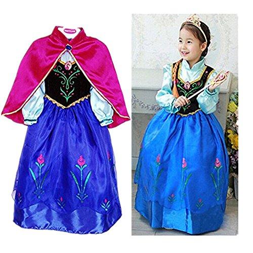 Preisvergleich Produktbild EQLEF® Prinzessin Anna Lace Paisley Chiffon Cosplay spielen Langes Kleid für Mädchen Kinder