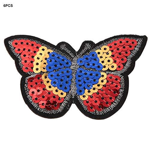 HEEPDD 6 stücke Pailletten Patch, Schmetterling Form DIY Tuch gestickte Pailletten Patch nähen Aufkleber Applique Handwerk für Kleidung Dekoration Cheongsam hochzeitskleid -