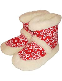 'Marited' 100% LAINE CHAUSSONS PANTOUFLES / ROUGE /