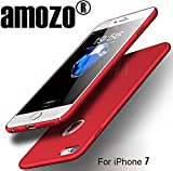 Amozo® iPhone 7 Case - RED - All Sides Full Protection '360 Degree' Sleek Rubberised Matte Hard Case Back Cover For Apple iPhone 7 (Red)
