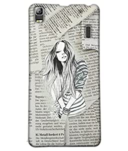 Fuson Newspaper Pattern Girl Back Case Cover for LENOVO A7000 - D3715